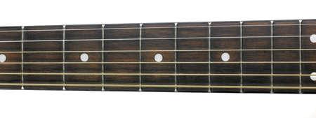 fret: Guitar dark wood fret board and strings  Stock Photo