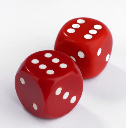 double game: Two red dice on a white background showing a throw of double six