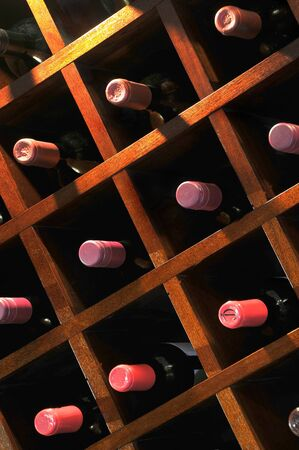 wall mounted: A wall mounted wine rack in cellar, with necks of assorted bottlles of red wine showing