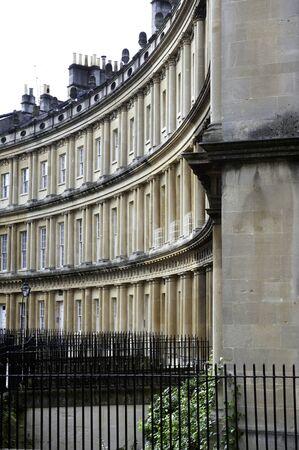 colonade: Part of a Bath colonade of buildings with railings