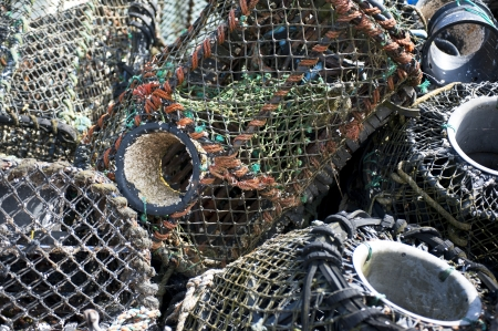 lobster pots: Close up of a pile of unused lobster pots on harbour side