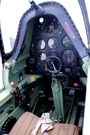 the cockpit of a Supermarine Spitfire plane