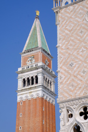 A detail of the top of the Campanile in St Marks Square Venice