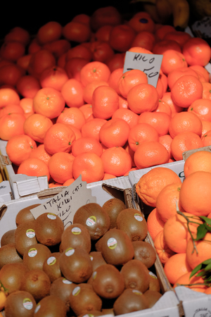 boxes of Kiwi fruit and Oranges for sale in a market in Venice