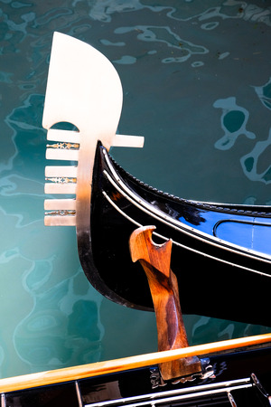 the bow and rollock of a Venitian Gondola Stock Photo
