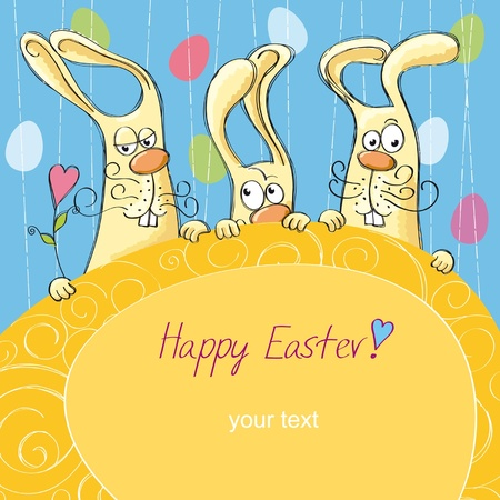 Easter cards with bunnies Vector