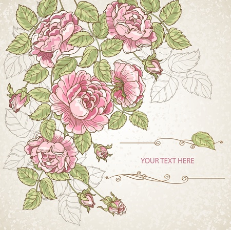 Greeting card with flowers  イラスト・ベクター素材