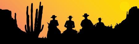 Mexicaanse ruiters bij zonsondergang