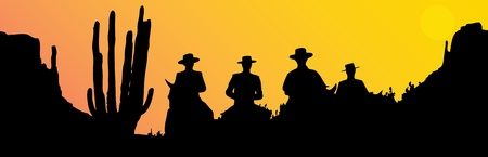 Mexican riders at sunset Illustration