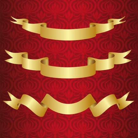 burgundy ribbon: Nastro d'oro su substrato bordeaux con ornamento