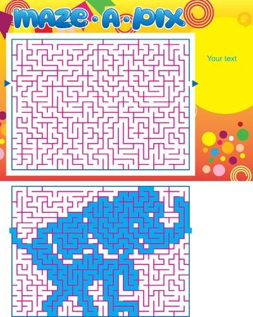 Maze puzzel Olifant Stock Illustratie