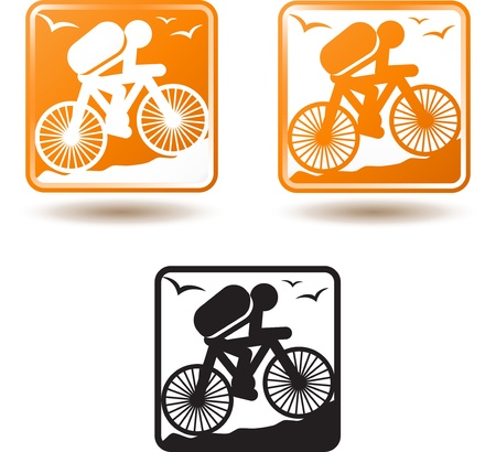 Tourism and active lifestyle, cycling Иллюстрация