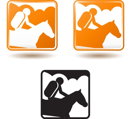 Tourism and active lifestyle, horse riding Illustration