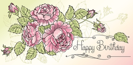 Greeting card Happy Birthday with three roses