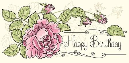 Greeting card Happy Birthday with one rose Çizim