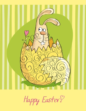 Easter cards with a rabbit from the egg