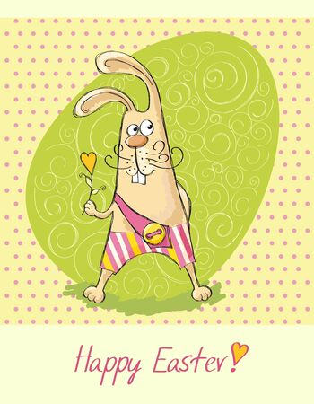Easter cards with a rabbit with a background in the speckled Vector