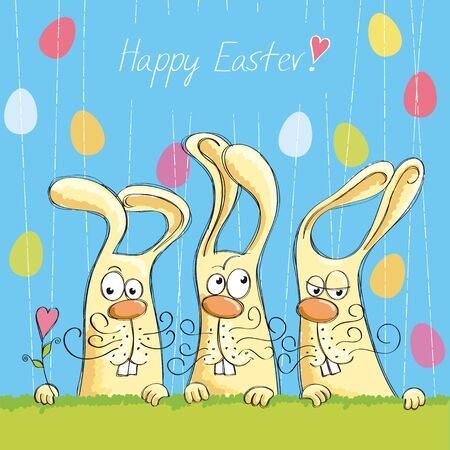 Easter cards with bunnies and rain Stock Vector - 13301571