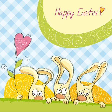 Easter cards with bunnies in the blue cell Stock Vector - 13301578