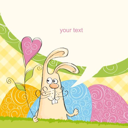 Easter cards with a rabbit in the yellow cell Stock Vector - 13301572