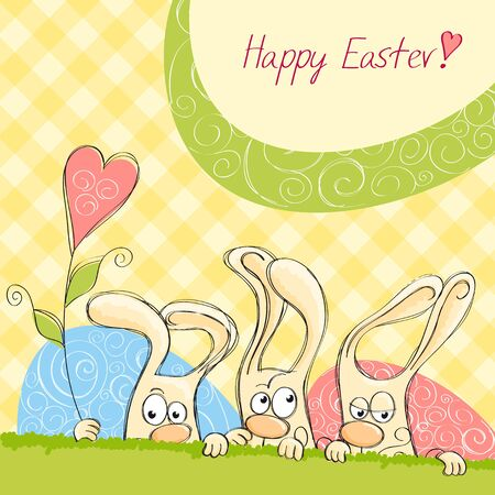 Easter cards with bunnies in the yellow cell Stock Vector - 13301574
