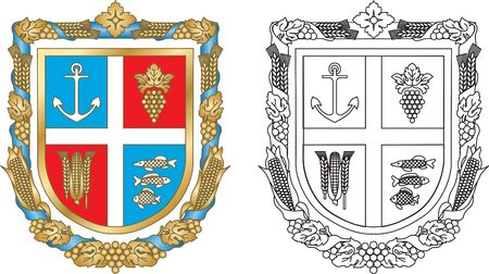 Emblem Reni district of Odessa region of Ukraine Vector