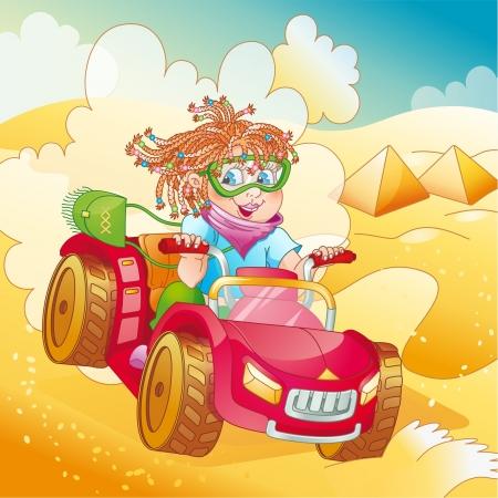 Little girl riding quad bike on desert