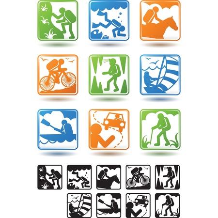 Actieve leefstijl, toerisme iconen Stock Illustratie
