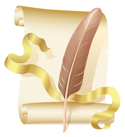 Scroll of old paper with golden ribbon and brown quill Vector