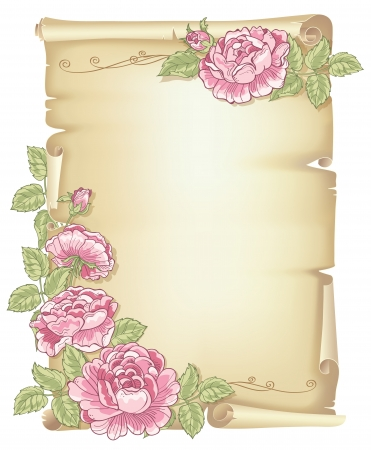 Sheet of old paper decorated of pink roses with green leaves Illustration