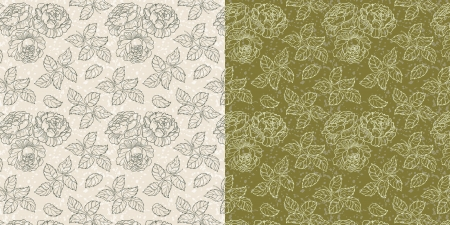 Seamless floral texture with roses and leaves