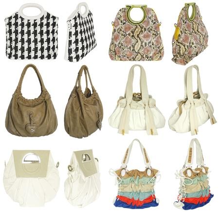 Kleurrijke vrouwen s handtassen, geïsoleerd op wit
