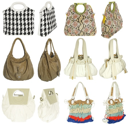 Colorful women s handbags, isolated on white  Banque d'images