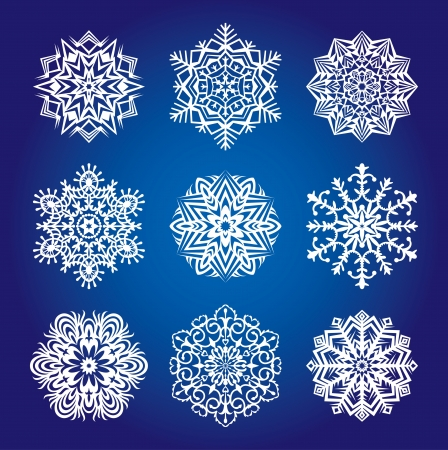 Collection of various snowflakes and decorative rosettes for decoration Stock Vector - 17997275