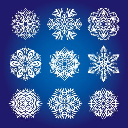 Collection of various snowflakes and decorative rosettes for decoration Stock Vector - 17997273
