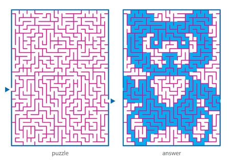 Children s picture logic puzzles, draw a line in this maze from start till end and discovers the hidden image Vettoriali