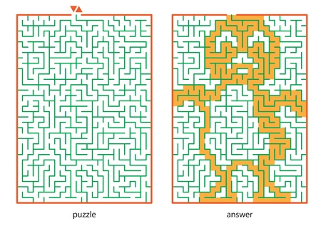 logic: Children s picture logic puzzles, draw a line in this maze from start till end and discovers the hidden image Illustration
