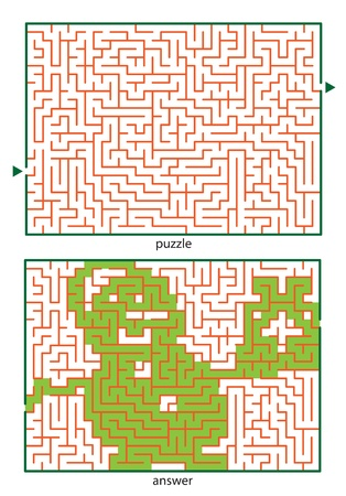 Children s picture logic puzzles, draw a line in this maze from start till end and discovers the hidden image Illustration