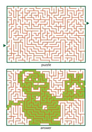 Image logique puzzles pour enfants, tracer une ligne dans ce dédale, du début jusqu'à la fin et découvre l'image cachée Banque d'images - 18344887