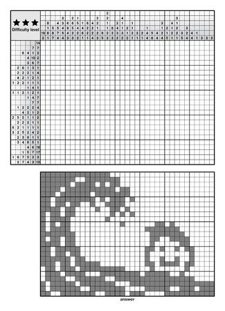 Logic puzzles, japanese crossword, nonogram for experienced Illusztráció