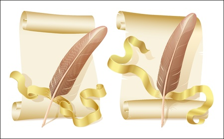 Old scroll, golden ribbon and quill Vector