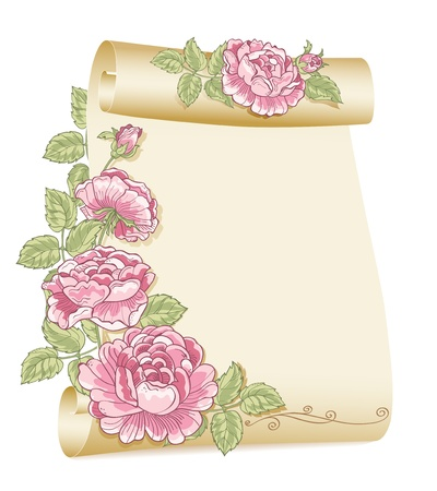 Old scroll and roses Illustration