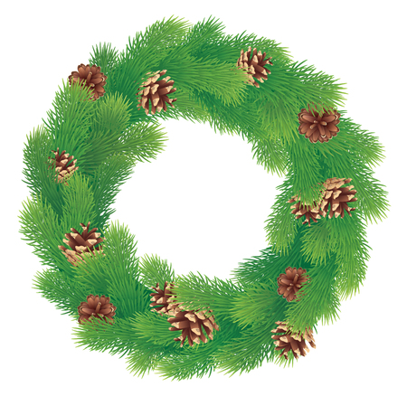 Christmas wreath with pine cones  Illustration