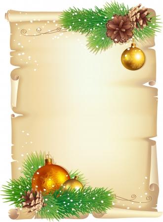 クリスマスの背景、古いスクロール、松の枝、コーン、ボール  イラスト・ベクター素材