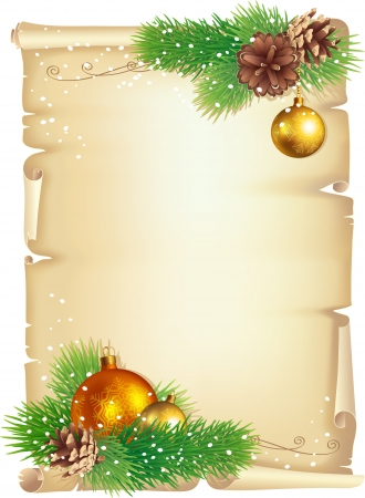 Christmas background, Old scroll, pine branches, cones and balls