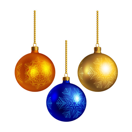 Bright Christmas balls, isolated on white  Vector
