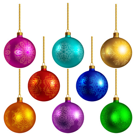 Set of bright colored christmas balls, isolated on white Vector
