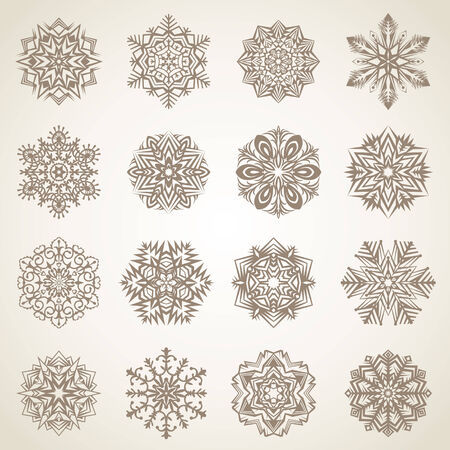 Collection of snowflakes or decorative rosettes for decoration