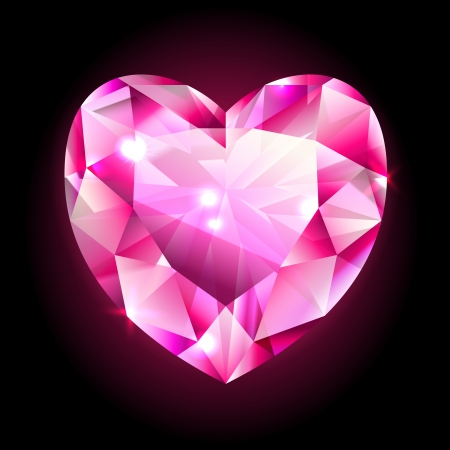 design element, red heart shaped diamond isolated on black Illustration