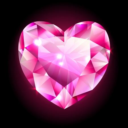 design element, red heart shaped diamond isolated on black Vettoriali